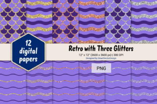 Print on Demand: Scales and Waves Retro W 3 Glitters #86 Graphic Backgrounds By SmartVectorDesign