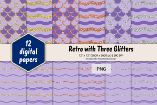 Print on Demand: Scales and Waves Retro W 3 Glitters #88 Graphic Backgrounds By SmartVectorDesign