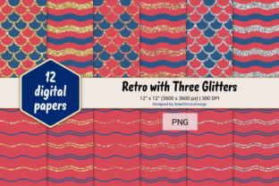 Print on Demand: Scales and Waves Retro W 3 Glitters #9 Graphic Backgrounds By SmartVectorDesign