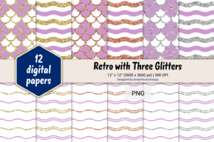 Print on Demand: Scales and Waves Retro W 3 Glitters #99 Graphic Backgrounds By SmartVectorDesign