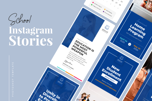 Print on Demand: School Instagram Stories Graphic UX and UI Kits By peterdraw