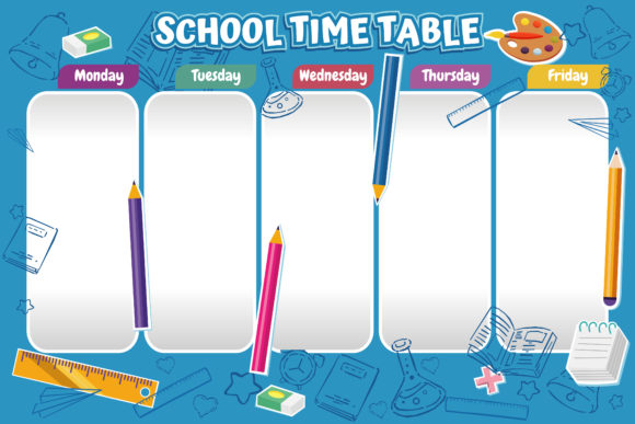 School Time Table for Design Graphic Print Templates By onoborgol