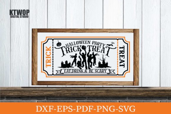 Print on Demand: Trick or Treat Halloween Party Ticket Graphic Crafts By KtwoP