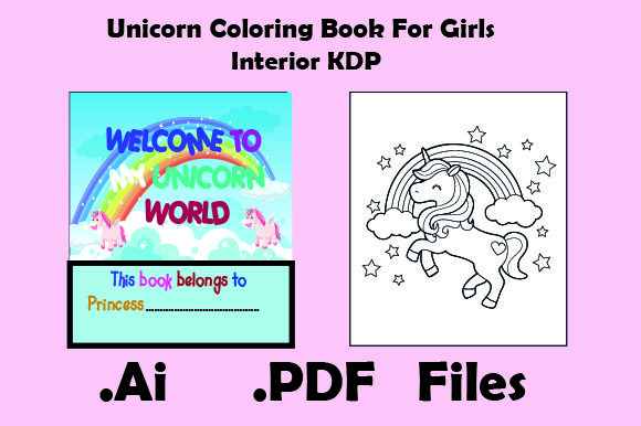 Unicorn Coloring Book for Girls Graphic KDP Interiors By KDP_Interior_101
