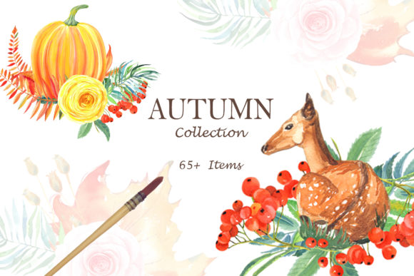 Print on Demand: Watercolor AUTUMN Collection Graphic Illustrations By evgenia_art_art