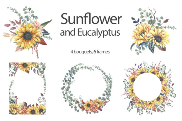 Watercolor Sunflower Wreaths and Bouquet Graphic Illustrations By olesiafrolowa