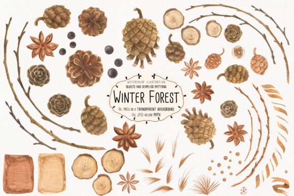Print on Demand: Winter Forest Graphic Illustrations By Snowstorm's Box