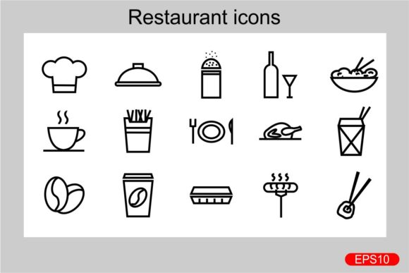 Print on Demand: Restaurant Icons Graphic Icons By Pidco.art