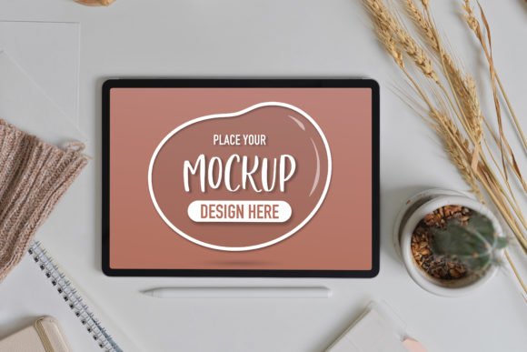Tablet on Study Table with Beverage Graphic Product Mockups By bongkarngraphic