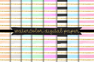 Print on Demand: Watercolor Digital Paper, Gold Clip Art Graphic Illustrations By SunflowerLove 1