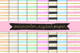 Print on Demand: Watercolor Digital Paper, Gold Clip Art Graphic Illustrations By SunflowerLove 2