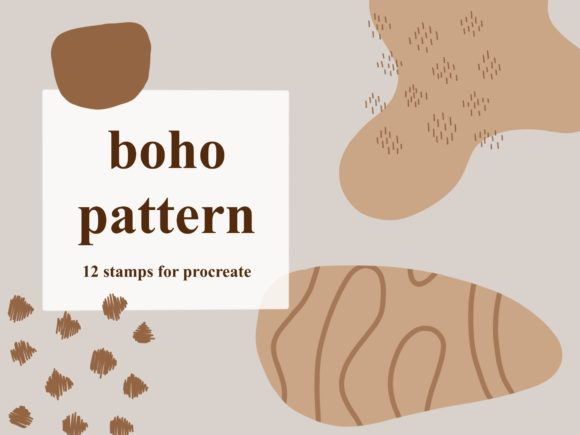 12 Boho Patterns Stamps for Procreate Graphic Brushes By secondjul