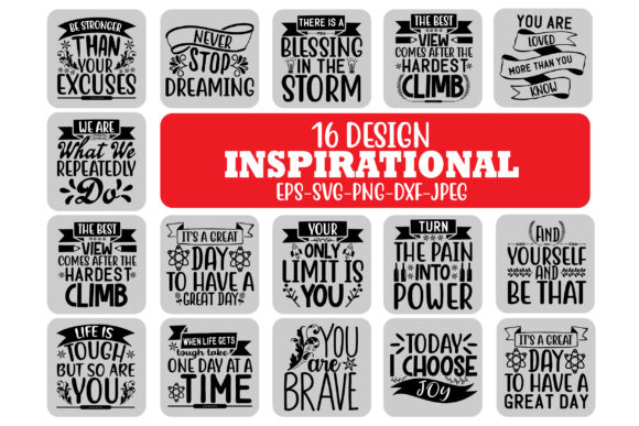 Print on Demand: 16 Inspirational Quotes Bundle  Graphic Crafts By Design Store Bd.Net