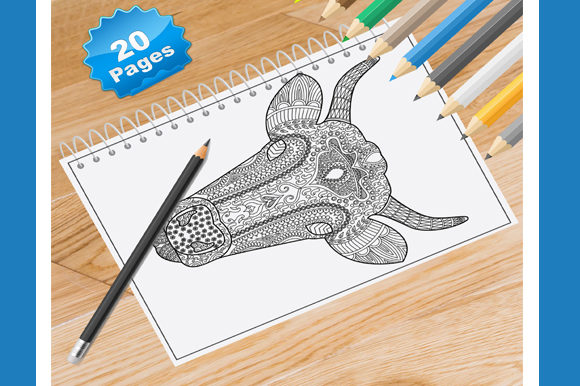 20 Animal Head Coloring Pages for Adults Graphic Coloring Pages & Books Adults By Coloring World