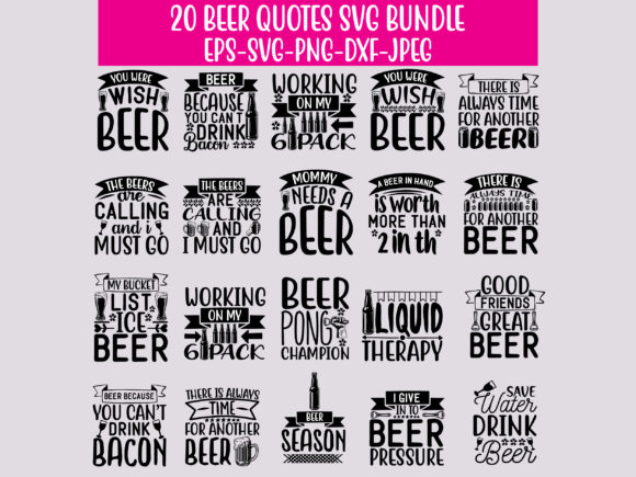 Print on Demand: 20 Beer Quotes Bundle Graphic Crafts By Graphics Home.net