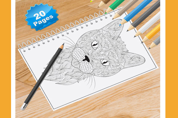 20 Cat Coloring Pages for Adults Graphic Coloring Pages & Books Adults By Coloring World - Image 1