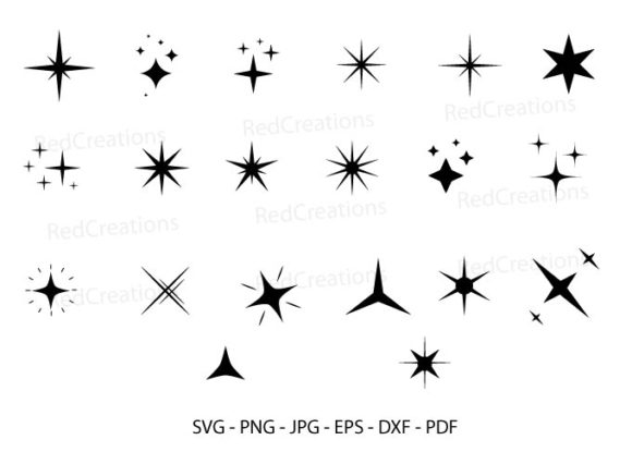 20 Sparkle Stars, Shine, Star Bundle Grafik Plotterdateien von RedCreations