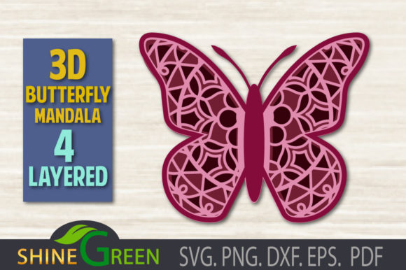 Print on Demand: 3D Butterfly Mandala 4 Layered SVG Graphic 3D SVG By ShineGreenArt