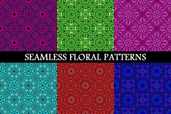 6 Seamless Floral Backgrounds Graphic Patterns By davidzydd