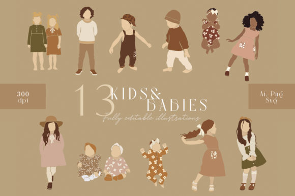 Abstract Kids and Babies Clipart Graphic Illustrations By NassyArt