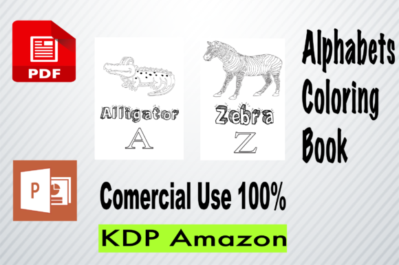 Alphabets Coloring Pages a-Z Graphic KDP Interiors By BM_Studio