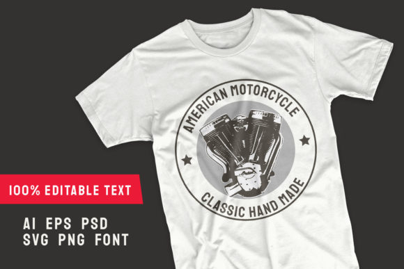 Print on Demand: American Motorcycle T-shirt Template Graphic Illustrations By Universtock