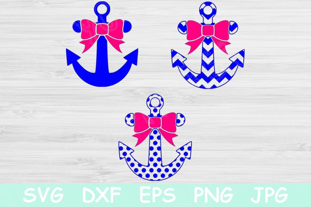 Anchor Monogram With Bow Graphic By Tiffscraftycreations Creative Fabrica