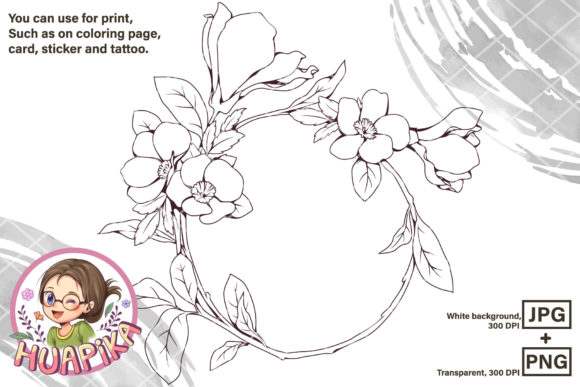 Beautiful Line Art Flower Circle Frame Graphic Coloring Pages & Books Adults By huapika