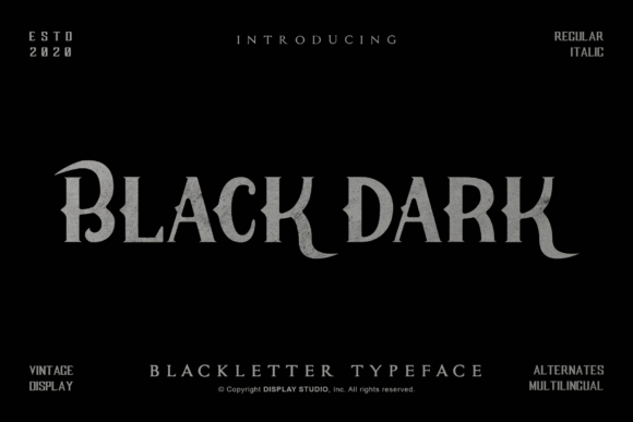Print on Demand: Black Dark Blackletter Font By DisplayStudio_