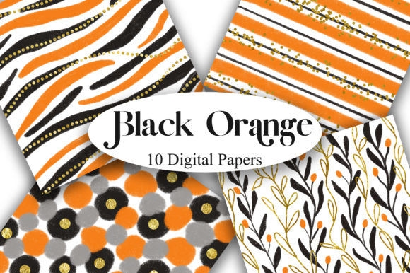 Black Orange Glitter Digital Papers Graphic Backgrounds By PinkPearly