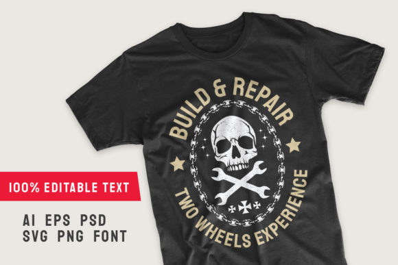 Print on Demand: Build and Repair Motorcycle T-shirt Graphic Illustrations By Universtock
