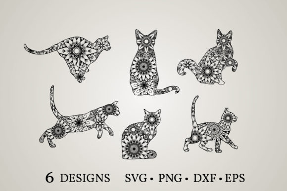 Cat Mandala  Graphic Print Templates By Euphoria Design