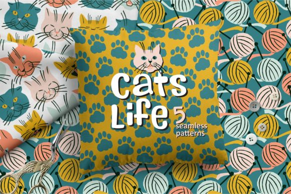 Cats Life Pattern Collection Graphic Patterns By MarynArts