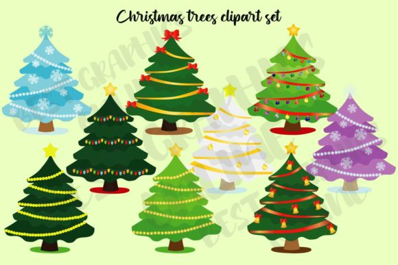 Christmas Tree Clip Art Set Holiday Xmas Graphic Illustrations By bestgraphicsonline