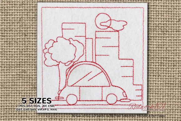 City Redwork Cities & Villages Embroidery Design By Redwork101