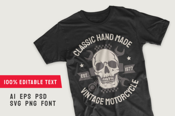 Print on Demand: Classic Hand Made Motorcycle T-shirt Graphic Illustrations By Universtock