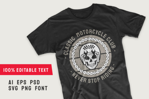 Classic Motorcycle Club T-shirt Template Graphic