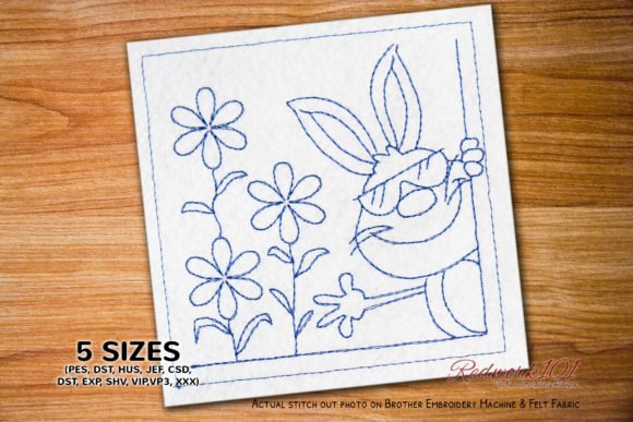 Cute Brown Rabbit with Sunglasses Farm Animals Embroidery Design By Redwork101