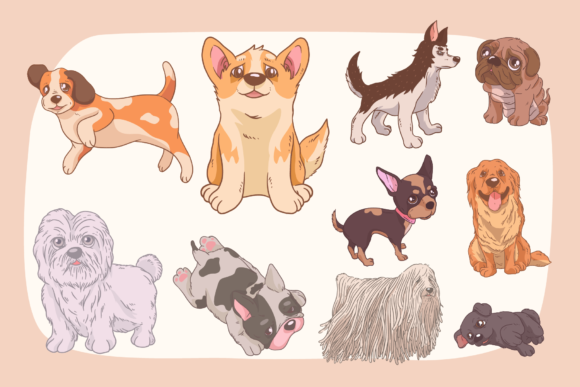 Print on Demand: Cute Dogs Vector Clipart Pack Graphic Illustrations By Telllu