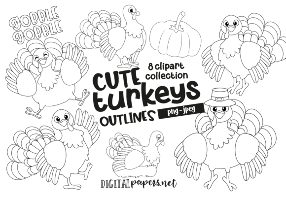 Print on Demand: Cute Turkey Outlines Graphic Illustrations By DigitalPapers