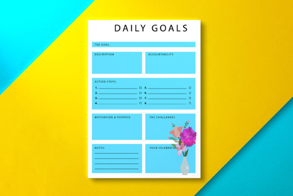 Daily Goal Planner Marine Graphic KDP Interiors By Nickkey Nick