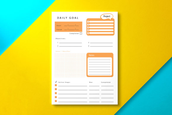 Daily Goal Planner Orange Graphic KDP Interiors By Nickkey Nick