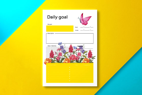 Daily Goal Planner Spring Graphic KDP Interiors By Nickkey Nick