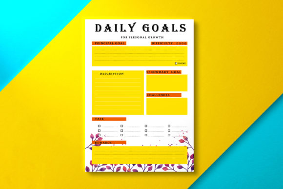 Daily Goal Planner Summer Graphic KDP Interiors By Nickkey Nick