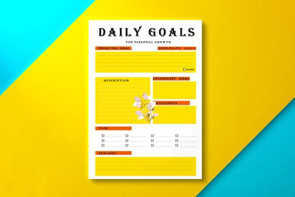 Daily Goal Planner Sun Graphic KDP Interiors By Nickkey Nick