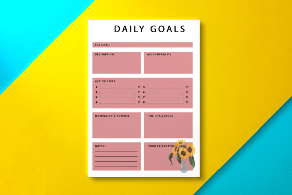 Daily Goal Planner Sunflower Graphic KDP Interiors By Nickkey Nick