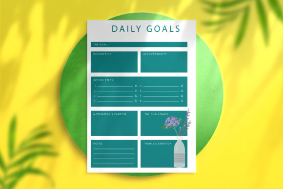 Daily Goal Planner Turquoise Graphic KDP Interiors By Nickkey Nick