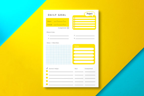 Daily Goal Planner Yellow Graphic KDP Interiors By Nickkey Nick