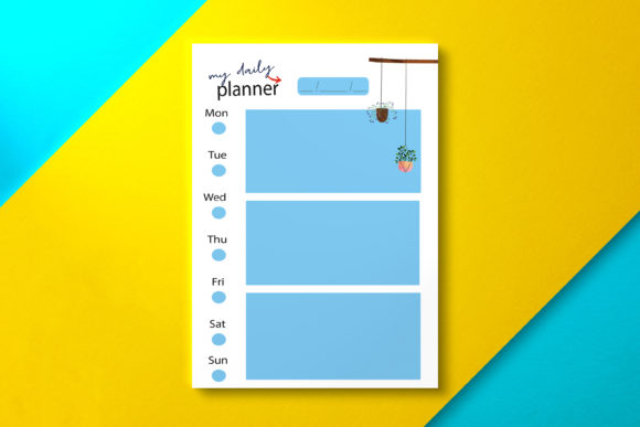 Daily Planner Blue Graphic KDP Interiors By Nickkey Nick