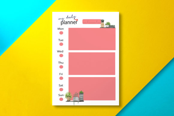 Daily Planner Pink Graphic KDP Interiors By Nickkey Nick